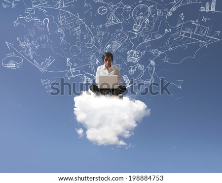 Internet and social network concept with a girl over a cloud - stock photo