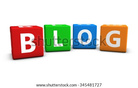 Internet and web blog concept with word and sign on colorful cubes isolated on white background. - stock photo