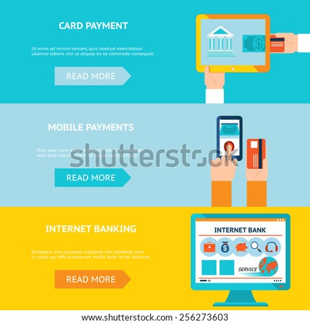 Internet banking, card and mobile payments. Contactless internet transaction - stock photo