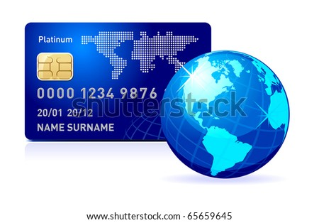 Internet Banking. Credit card with world map and Globe. Payment concept. - stock photo