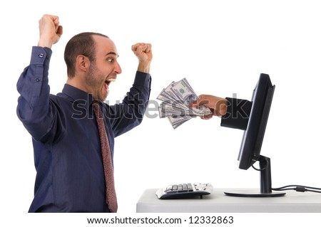 internet banking with a business man happy - stock photo