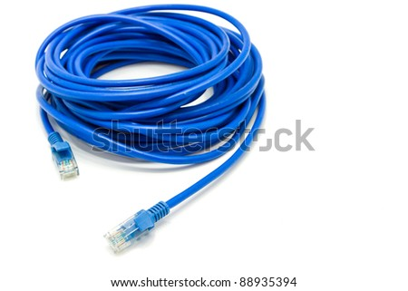 internet blue cable on white background - stock photo