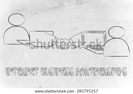 internet business partnership: users virtually shaking hands through the web - stock photo