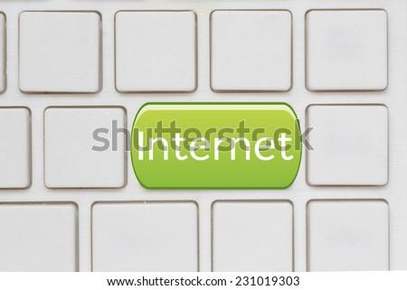 internet  button on Computer Keyboard - stock photo