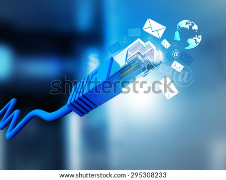 Internet cable with email symbols 	 - stock photo