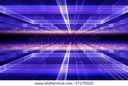Internet concept, binary code data flow, communication, technology-style background - stock photo