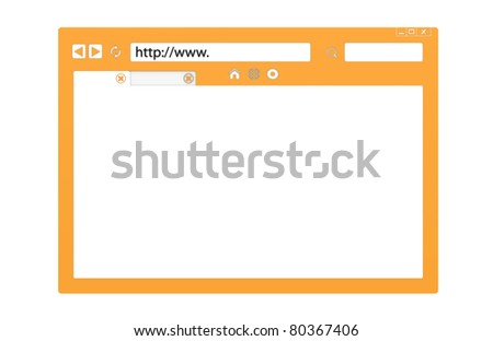 Internet Concept. Front view of an Abstract Browser window. Orange, isolated with copy space. - stock photo