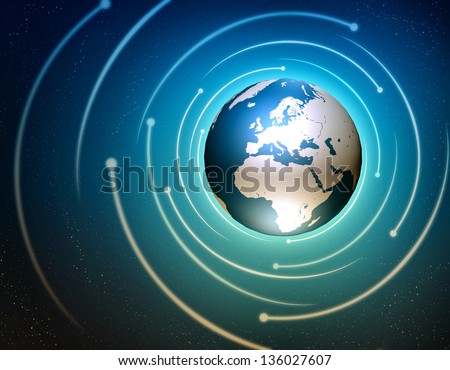 Internet concept illustration with a world globe and stars - stock photo
