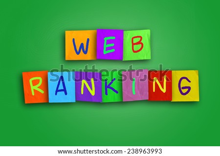 Internet concept image of the word Web Ranking written on sticky colored paper - stock photo