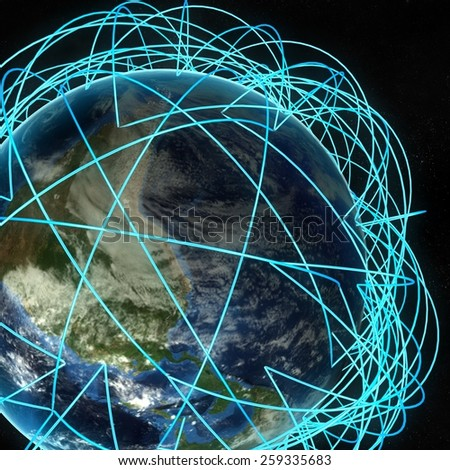 Internet Concept of global business and major air routes. Highly detailed planet Earth at night, surrounded by a luminous network, 3d render. Elements of this image furnished by NASA  - stock photo