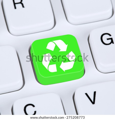 Internet concept recycling button for recycle natural conservation on computer keyboard - stock photo