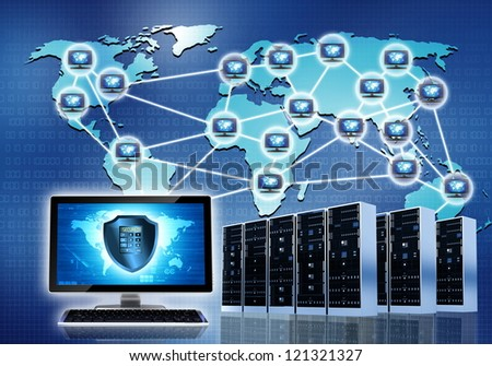 Internet conceptual image. Secured internet network connection - stock photo