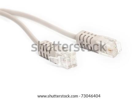Internet connecter plug on white background - stock photo