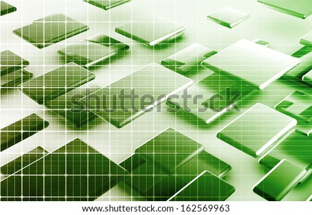 Internet Connection with Moving Data Packets Art - stock photo