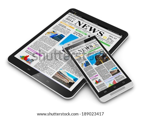 Internet digital web media and business office communication concept: tablet PC computer and touchscreen smartphone with business web news media isolated on white background - stock photo