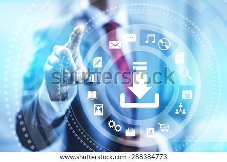 Internet download connection concept illustration - stock photo