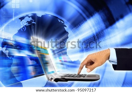 Internet for business, Conceptual image about a businessman connect to internet and worwide network with a High speed internet connection in a laptop computer. - stock photo