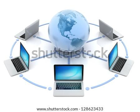 internet, global network, computers around globe - stock photo