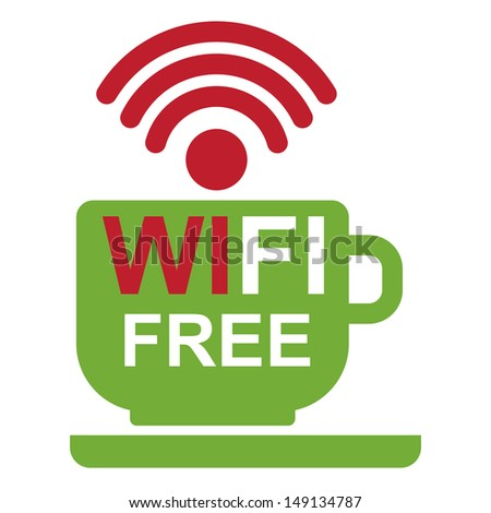 Internet Hotspot, Internet Cafe or Technology Concept Present By Green Coffee Cup With Wifi Free Sign Inside Isolated on White Background - stock photo