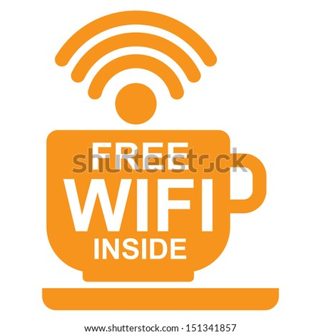 Internet Hotspot, Internet Cafe or Technology Concept Present By Orange Coffee Cup With Free Wifi Inside Sign Isolated on White Background - stock photo