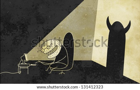 Internet maniac - stock photo