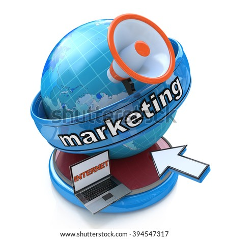 Internet Marketing - Earth globe with a megaphone and mouse cursor in the design of information related to the business - stock photo