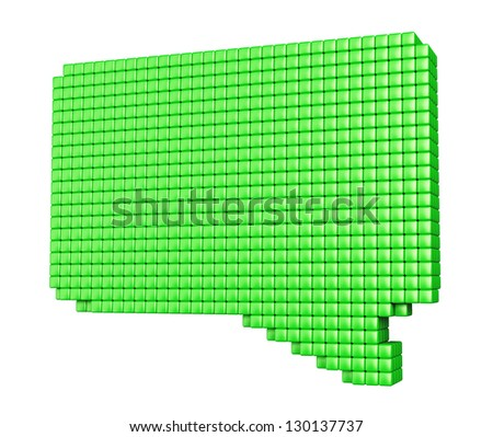 Internet media concept. Green bubble form made of glossy cubes isolated on white. - stock photo