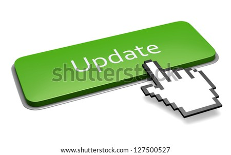 Internet media concept: green update button and pixelated hand cursor isolated on white. 3d illustration. - stock photo