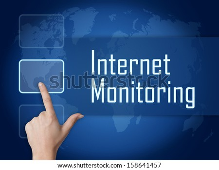 Internet Monitoring concept with interface and world map on blue background - stock photo