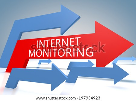 Internet Monitoring 3d render concept with blue and red arrows on a bluegrey background. - stock photo