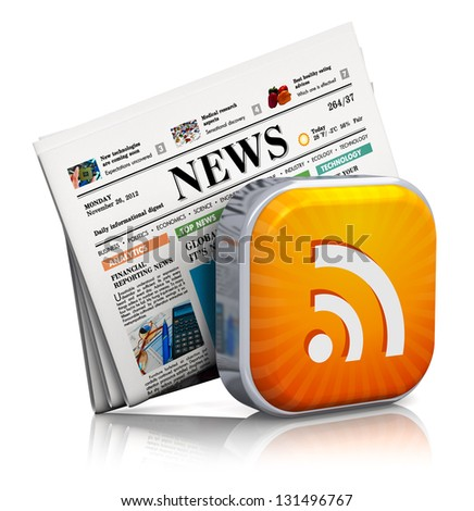 Internet news and web RSS concept: orange RSS symbol and stack of business newspapers isolated on white background with reflection effect - stock photo
