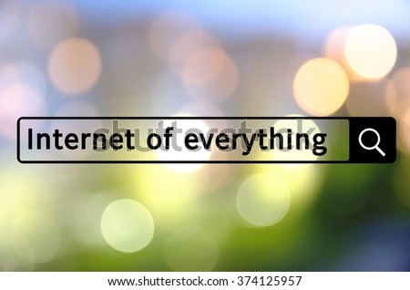 Internet of everything written in search bar with the defocused lights visible in the background. - stock photo