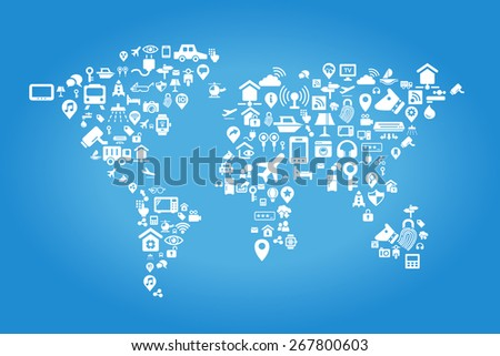 Internet of things concept - world map by Internet of things concept icons - stock photo
