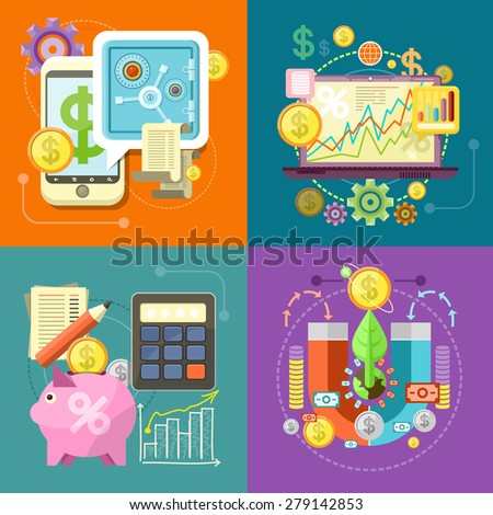 Internet online banking. Accumulation of finances magnet attracting golden coins. Accounting with digitial caculator. Financial diagram on a laptop monitor. News from finance market. Raster version - stock photo