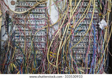 internet problem,causing by disorder of wiring - stock photo