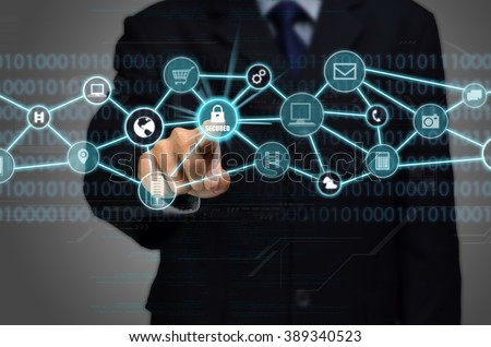 Internet Secured network Connection conceptual image with business man touching a padlock protected secured internet connection - stock photo