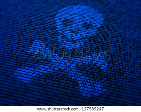 Internet security and malware concept illustration - a skull and bones symbol made out of binary code - stock photo
