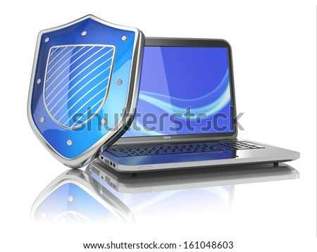 Internet security concept. Laptop and shield. 3d - stock photo