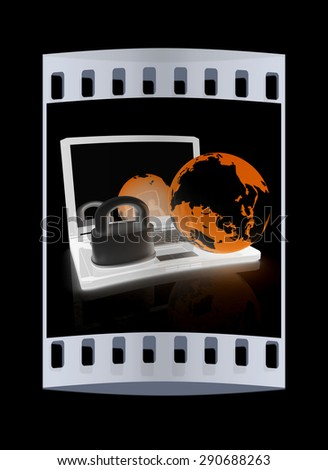 Internet security concept on a black background. The film strip - stock photo