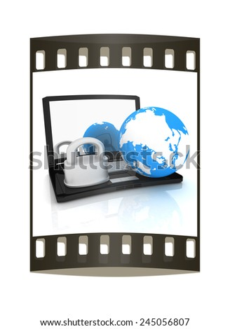 Internet security concept on a white background. The film strip - stock photo