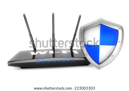 Internet security concept. WiFi Router with Shield on a white background - stock photo