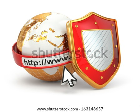 Internet security. Earth, browser address line and shield. 3d - stock photo