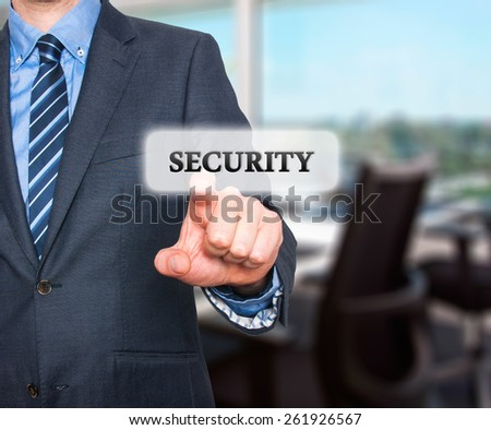 Internet security online business concept businessman pointing security services. Isolated on office background. Stock Photo - stock photo