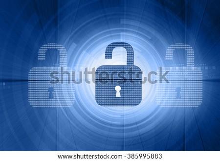 Internet security. unlock security locks on digital tech background - stock photo
