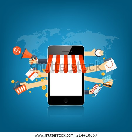 Internet shopping concept. E-commerce. Online store. Web money and payments. Pay per click. - stock photo