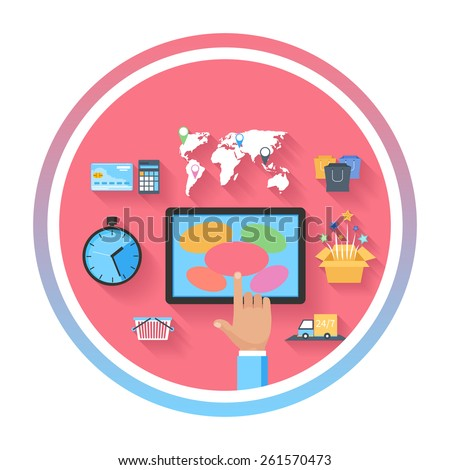 Internet shopping e-commerce concept with monitor screen of buying products via online shop store e-commerce ideas and symbols sale elements on stylish background. Raster version - stock photo