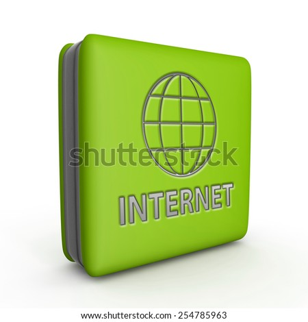 internet square icon on white background - stock photo