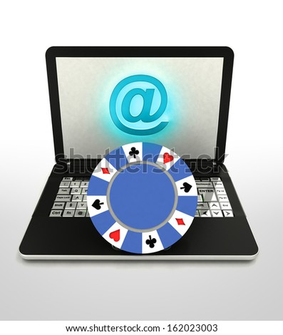 internet surfing and search info about poker games illustration - stock photo