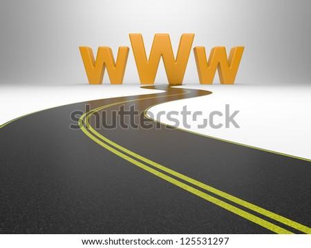 Internet symbol www and a long road, symbolizing of web traffic - stock photo