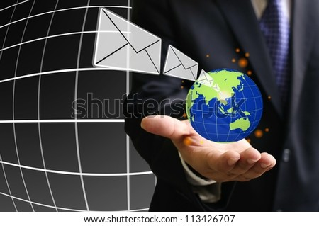 Internet technology make a fast speed for telecommunication - stock photo